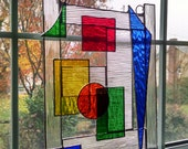 Abstract Geometric Stained Glass Panel - Stained Glass Window - Modern Art - Glass Sculpture - Glass Art - Suncatcher - Cathedral Glass