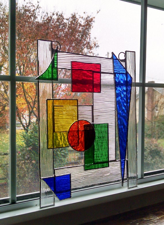 Abstract Geometric Stained Glass Panel Stained Glass Window