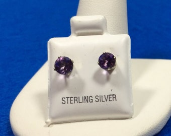 Amethyst Sterling Silver Earring Studs  5mm round