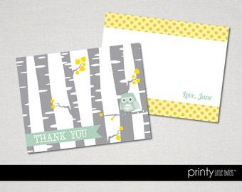 Owl & Birch Thank You Cards- Digital File