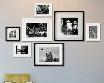 Set of 7 Paris Photography, Paris bedroom decor , Bathroom Art, black and white photography, Montmartre gallery wall collage, large wall art