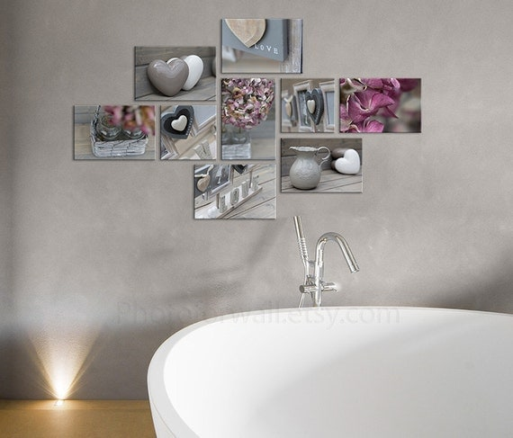 Set of 9 canvas bathroom art grey decor nursery by for Pink grey bathroom accessories