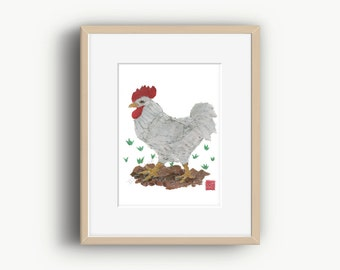 Chicken Art Print, White Rooster Art, Farm Animals, Chicken Decor, Year of the Rooster