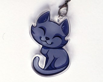 Chibi Blue Kitty Cat Clear Acrylic Charms with Phone Strap