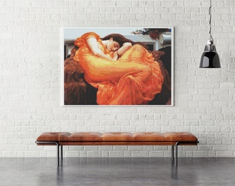 Counted Cross Stitch PATTERN Flaming June by Lord Frederic Leighton, Cross Stitch Chart PDF