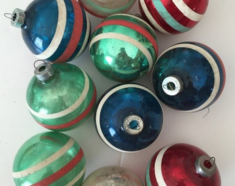 Vintage Shiny Brite STRIPED Christmas Ornaments