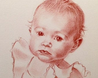 Custom one color pastel portrait- 8x10 inches