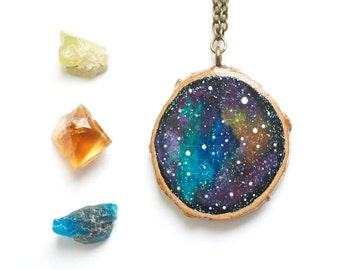 Galaxy Necklace, Hand-Painted Wood Necklace, Glow-in-the-Dark, Nebula Necklace, Galaxy Painting, Wood Slice Necklace, Wood Slice Painting