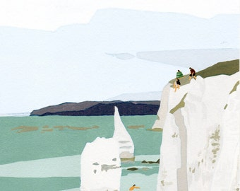 "Original Gouache painting - ""Summer Cliff"""