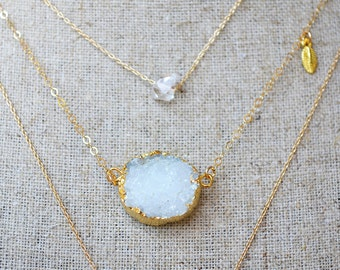 white druzy necklace /// modern layering jewelry ///  white druzy agate dipped in gold