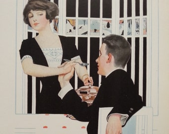 1912 Vintage print by C Coles Phillips - fadeaway girl man and woman in black