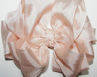 Blush Pink Hair Bow 100% Pure Silk Ribbon Girls Baby Toddler Accessories Clip Dance Recital Pageant Wedding 1st Birthday Party Boutique M2M