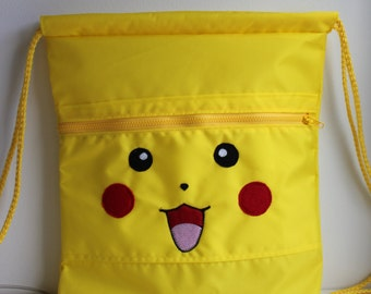 Nylon canvass drawstring bag, Pikachu drawstring bag, Pokemon drawstring bag