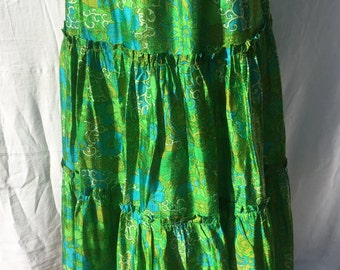 70s Funky Silk Green Skirt & Scarf