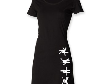 Funny bunny dress, t shirt dress, kawaii dress, rabbits print dress, little black dress, t shirt dress