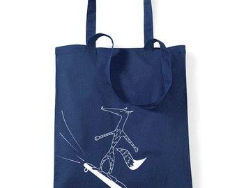 Skater fox tote, skateboard bag, shopper bag, canvas tote