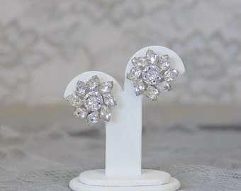 Dazzling Clear Rhinestone WEISS Earrings Clip on