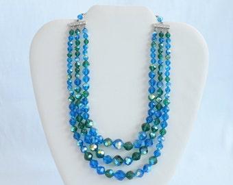 Triple Strand Royal Blue and Emerald Green with Aurora Borealis Crystal Necklace LAGUNA