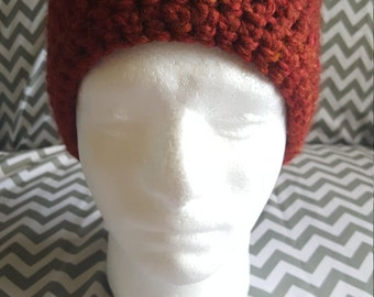Men's Over-sized Orange Crochet Beanie