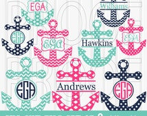 Monogram SVG Cut File Set includes 9 cutting files {SVG/JPG formats} Commercial use ok! anchor svg Monogram ready chevron svg dots moroccan
