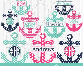 Monogram SVG Files Set includes 9 cutting files {SVG/JPG formats} Commercial use ok! anchor svg Monogram ready chevron svg dots moroccan