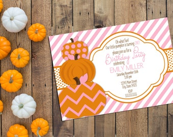 Little Pumpkin Birthday Party Invitation - First Birthday Invitation - Pink and Orange - Printable