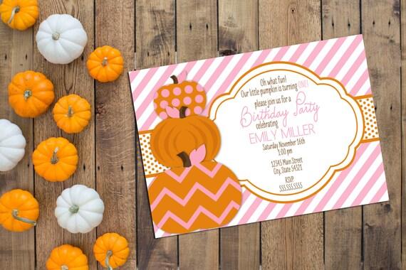 Little Pumpkin Birthday Party Invitation - First Birthday Invitation - Pink and Orange - Printable