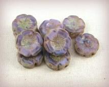 Czech Beads, Czech Glass Purple Flower Beads, Glass Hibiscus Flower - Lavender Picasso (FL12/N-1047) - 12mmx4mm - Qty. 6