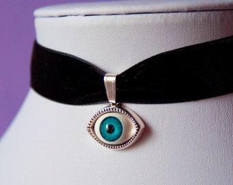 Evil Eye Blue Silver Charm Black Velvet Choker Necklace Retro 90s / For Her