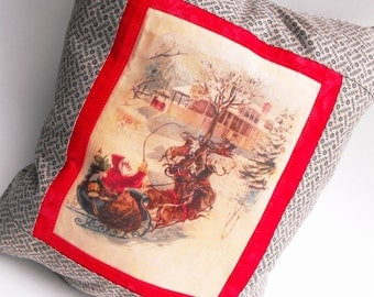 Currier and Ives Christmas Pillow Santa Claus Jingle Bells Saint Nicholas Rudolph Reindeer Red Home Decor Winter Yuletide Holiday Decoration