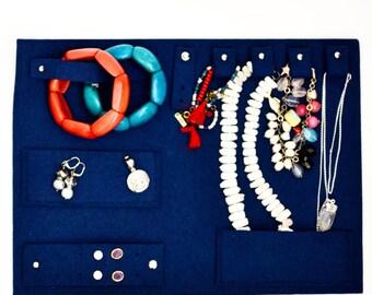 Navy blue travel jewelry bag, Jewelry organizer, best travel companion, jewelry holder storage, jewelry display, jewelry case, sapphire