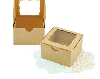 12 - Kraft Window Gift Boxes - 4 x 4 x 2.5 inches - Food Safe Packaging - Gifts Favors Cookies Candy Baked Goods