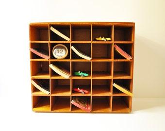 Vintage Hotel Reception Wooden Organizing Shelf - Letterpress Drawer