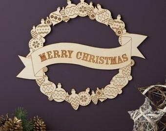 Merry Christmas Wooden Wreath