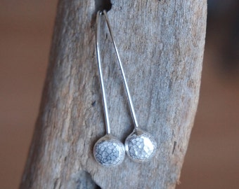 silver earrings, silver pebble dangle drop earrings, handmade by ARC Jewellery UK from Argentium silver