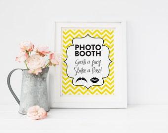 Chevron Modern Photobooth Sign DIY Wedding Poster Printable