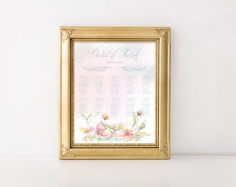 Pink and Blue Floral Custom Printable Guest Seating Chart 18x24in Vertical
