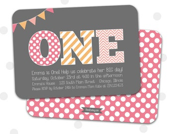 1st Birthday Invitation, Girl's First Birthday Invitation, 1st, 2nd, 3rd Girl's Birthday Invitation, Pink and Orange, Gray, Printable