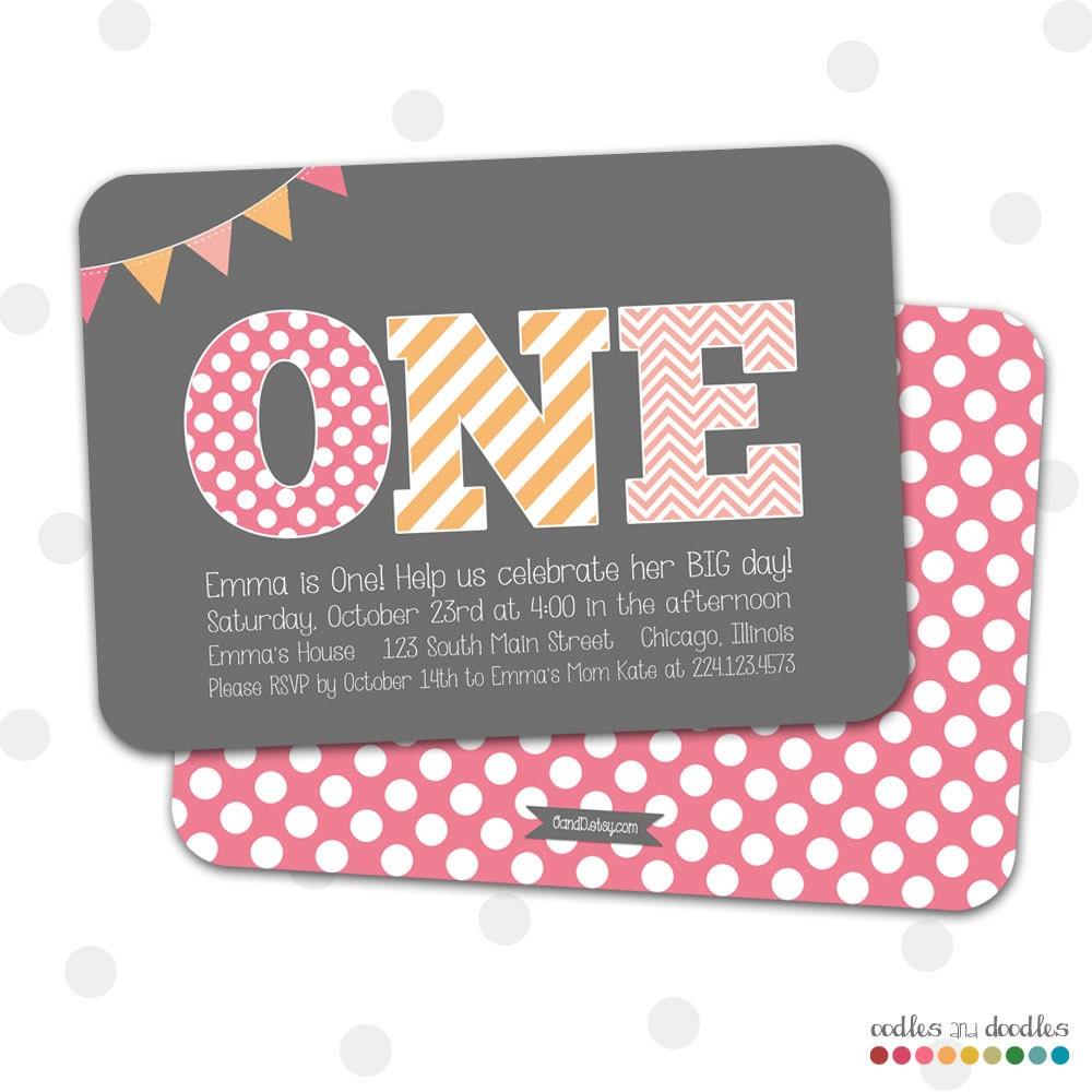 1st Birthday Invitation Girls First Birthday Invitation – Polka Dot First Birthday Invitations