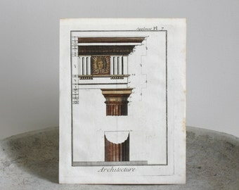 Antique Architectural Column Engraving Diderot Encyclopedia c. 1780 7 1/2 x 9 3/4 inches