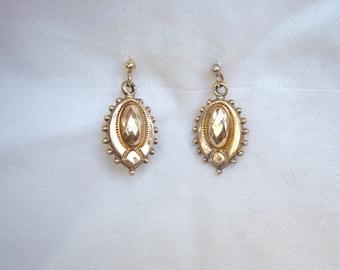 Antique Gold Earrings - Victorian Etruscan Revival Gold Earrings