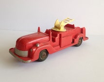 1940's Vintage Red Fire Truck / British Toy Fire Engine / Antique Toy Fire Truck