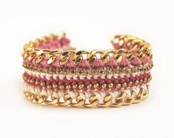 Pink crochet bracelet, chunky chain bracelet with rhinestones, pink bracelet, boho bracelet, arm candy