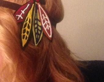Chicago Blackhawks HEADBAND or Hair Clip, Hawks Chicago Fans Accessory, waitress, bartender, sports bar, Gift, hair accessory, hockey