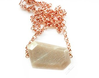 Inner Rhythm Pendant from Align Energy with Natural Pink Moonstone Crystal /// Align Energy Copper Collection /// Mineral Moonstone Necklace