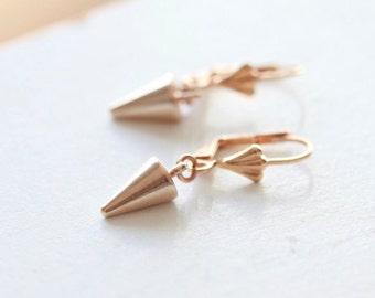 Rose Gold Spike Earrings - Tiny Spike Earrings