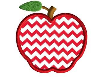 Apple applique, 5 sizes, machine embroidery design, digital download