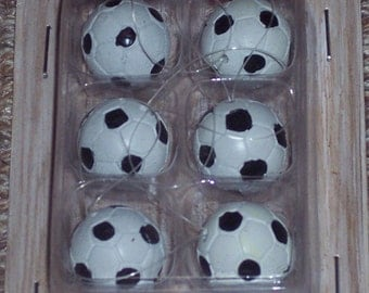 Mini soccer ball craft pieces,6/pkg,polystone,sports