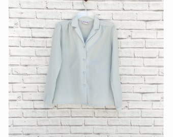 MORNING MIST - Light Blue Vintage Blouse by Jolene Fashions | 80s Gray Blouse | Long Sleeve Blouse | Blue Blouse | Gray Blouse | Size Small