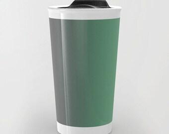 Green Travel Mug - Green to Gray Ombre Travel Mug - Coffee Travel Mug - Hot or Cold Travel Mug - 12oz Travel Mug - Made to Order